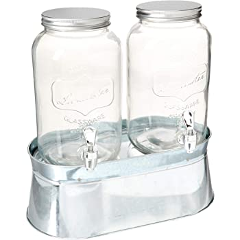 Circleware 92022 Double Mini Mason Jar Glass Beverage Dispensers with Stand Bucket, Fun Party Home Entertainment Glassware for Water, Juice, Beer, Punch, Iced Tea Drinks, 120 oz Lancaster