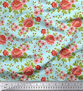 Soimoi 44 Inches Wide Floral Printed Pure Silk Fabric for Sewing by The Yard 20 GSM - Aqua