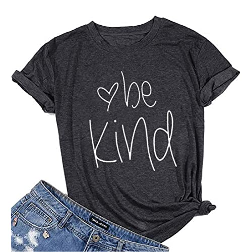 902787f7 Womens Be Kind T Shirt Summer Letter Print Short Sleeve Loose Tops  Inspirational Graphic Tees