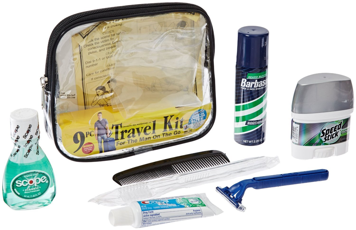 Convenience Kits Men's Clear Deluxe Travel Bag : Beauty