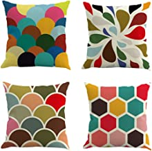 E-Livingstyle 4-Pack Cotton Linen Decorative Pillow Covers Sofa Throw Pillow Case Cushion Covers Square 18×18 Inch