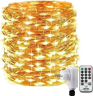 Qedertek Luces de Navidad de Alambre de cobre, Cadena de Luces 20M 200 LED Blanco Calido, Guirnalda Luces Arbol de Navidad con Control Remoto, Luces Hadas para Decoración de Navidad, Boda, Party