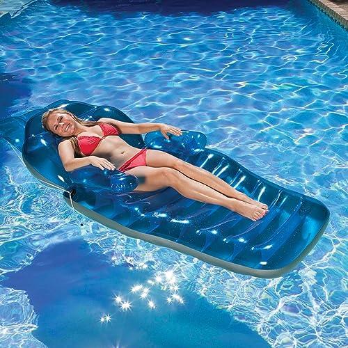 Aufblasbare Wasserliege, Aufblasbare Schwimmreihe, Wasserspielzeug Luftmatratze Aufblasbare Fl  Tragbarer Poolschwimmer, Erwachsener, Junge Kinder, Liegendes Wasser, Aufblasbares Schwimmbett, Schwim