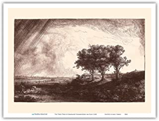 The Three Trees - from an Original Etching and Drypoint by Rembrandt Harmenszoon Van Rijn c.1643 - Master Art Print 9in x ...