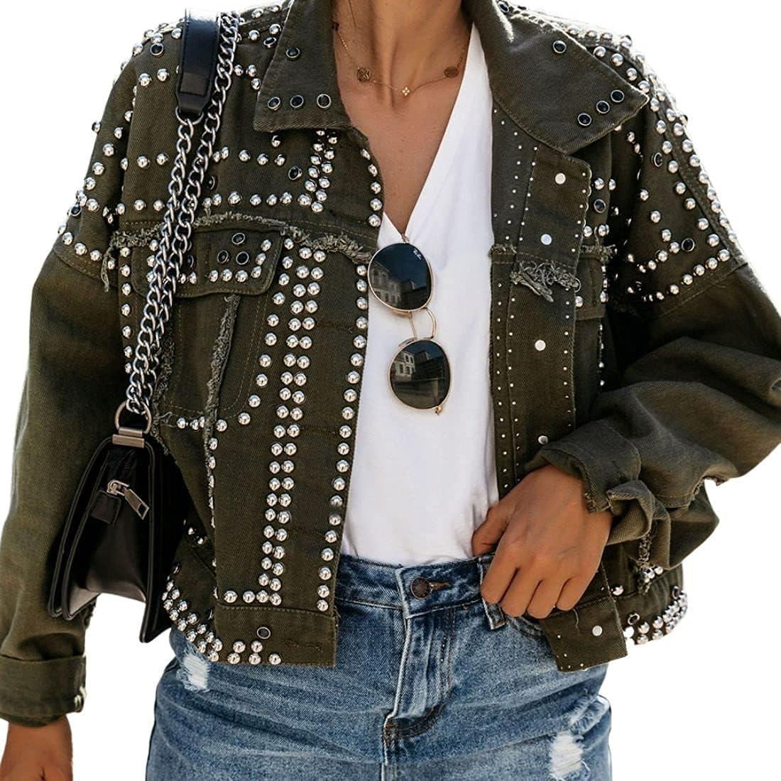 Omoone Women's Long Sleeve Rivet Denim Studded Was Popular product Casual Charlotte Mall Jacket