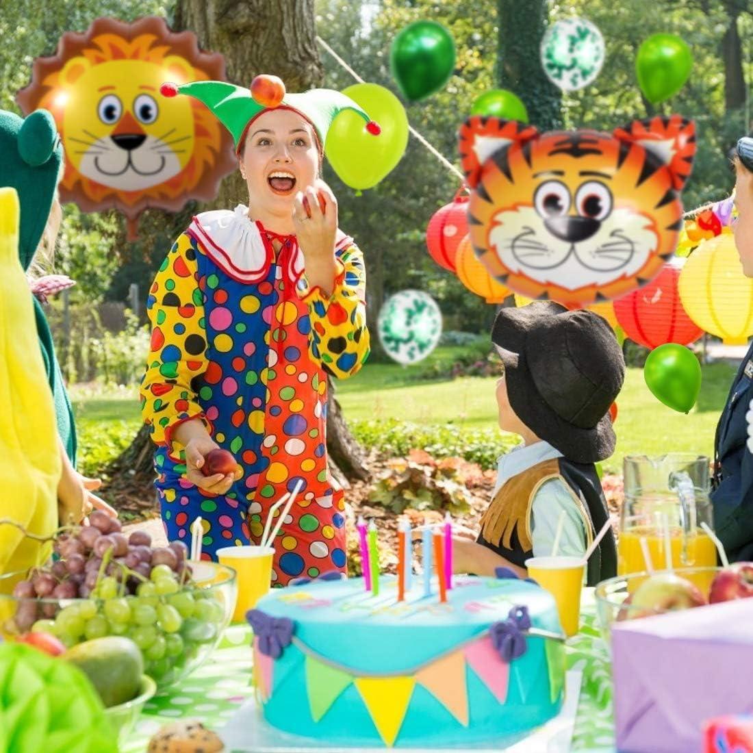 Gr/ün Luftballons Safari Tier Folienballons f/ür Kindergarten Dekoration Urwald Party Geburtstag Junge M/ädchen 4 Jahre Kindergeburtstag Deko Geburtstag Dekoration Set Bluelves 4