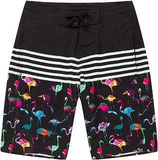 UHT28DG USA Flag Cities Pattern Mens Beach Board Shorts Drawstring Swimming Shorts