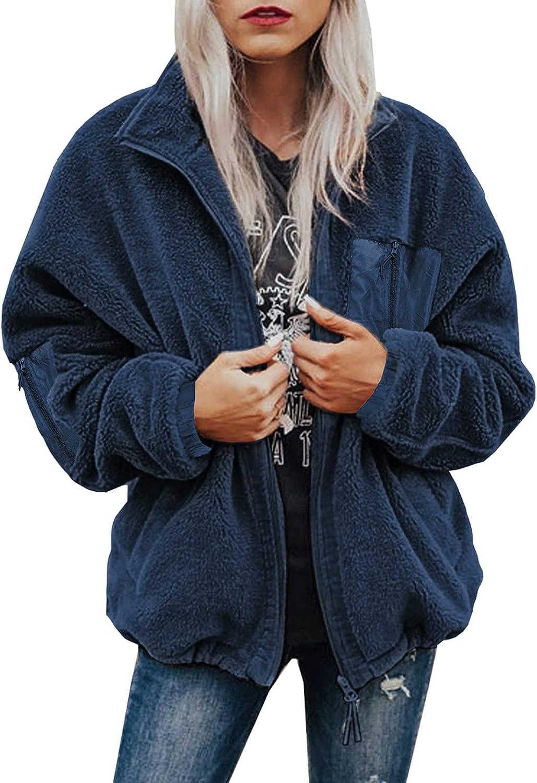 Women Fleece Long Sleeve Coat Oversized Zip Up Fuzzy Faux Jackets Casual Winter Outwear with Pocket