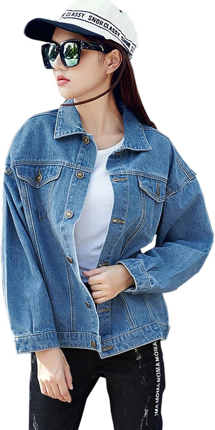 Flygo Women's Vintage Washed Denim Boyfriend Jean Trucker Jacket