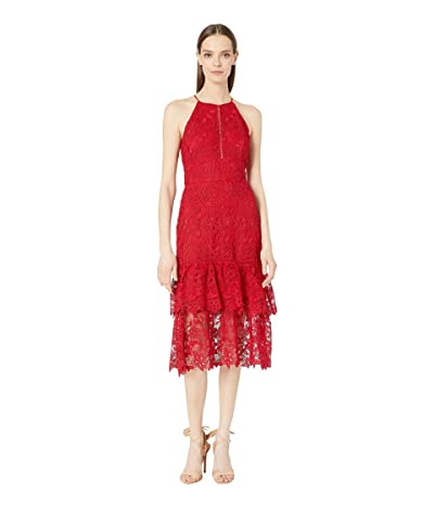 Rachel Zoe Annalise Guipure Lace Midi Dress (Crimson) Women