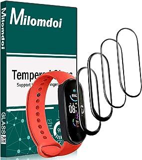 Milomdoi [4 Unidades] Protector Pantalla para Xiaomi Mi Band 5, [NO Vidrio] TPU Suave láminas Protectora Anti-rasguños [ Alta Sensibilidad] [Reducir Huella Digital] [3D Cobertura Completa]