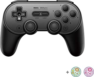 8Bitdo SN30 Pro+ Bluetooth Controller for Switch, PC, macOS, Android, Steam and Raspberry Pi with Thumb Stick Grips Cap (B...