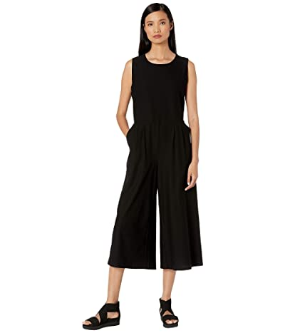 Eileen Fisher Lightweight Washable Stretch Crepe Round Neck Tank Cropped Jumpsuit (Black) Women