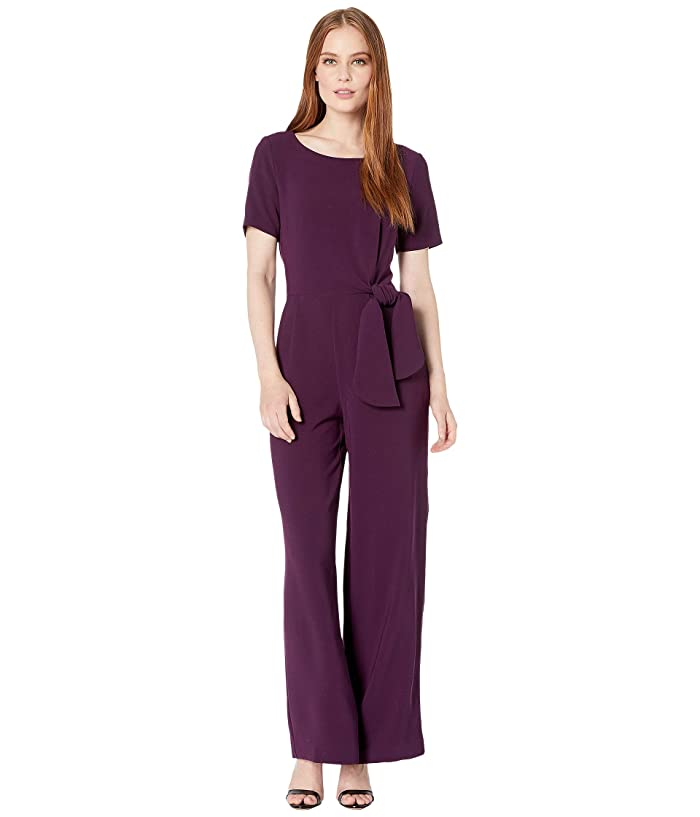 Tahari by ASL  Short Sleeve Stretch Crepe Jumpsuit with Side Tie Detail (Aubergine) Womens Jumpsuit and Rompers One Piece