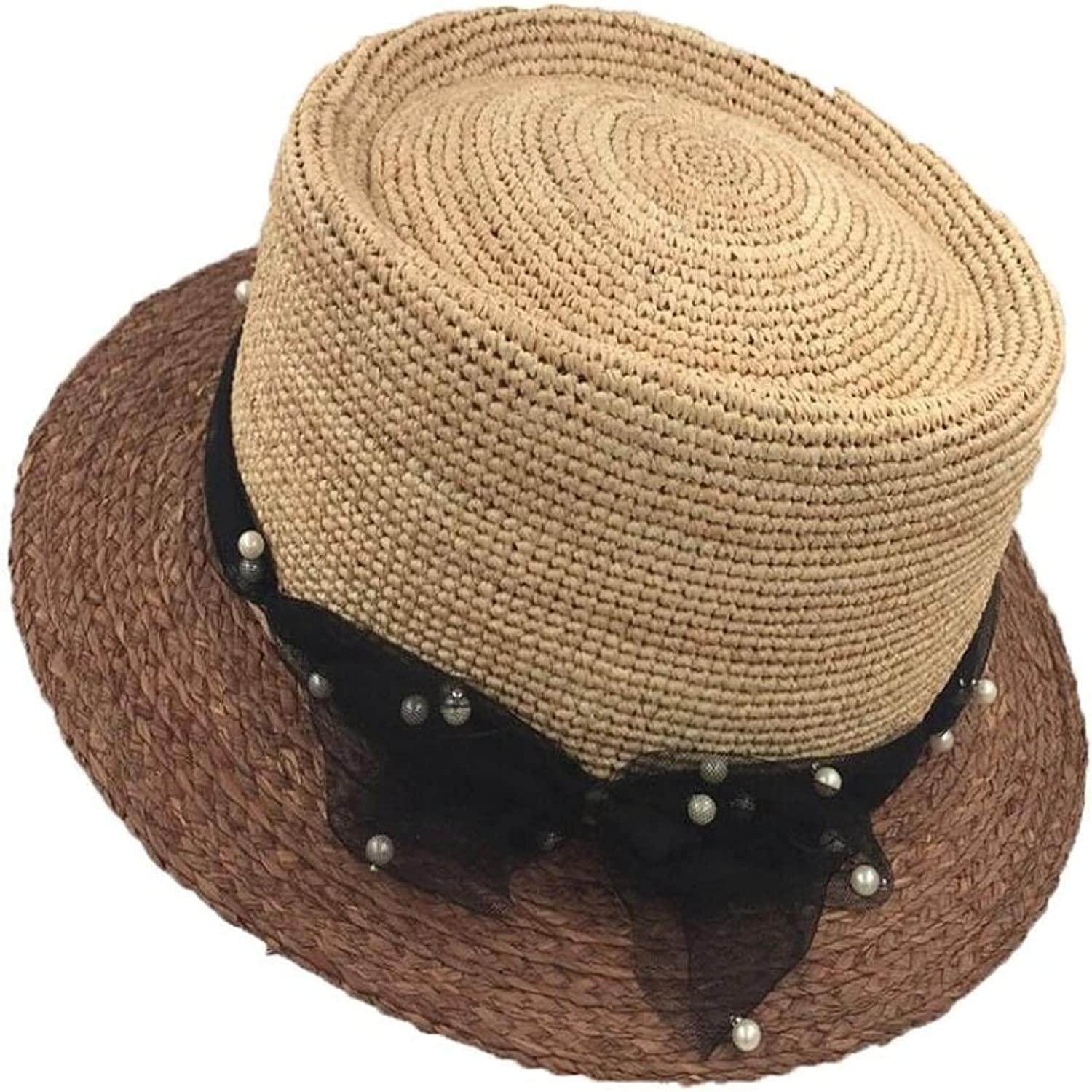 Paper Straw Straw Hat Tourism Beach Sunshade Lady Straw Hat Solid color Basin Hat