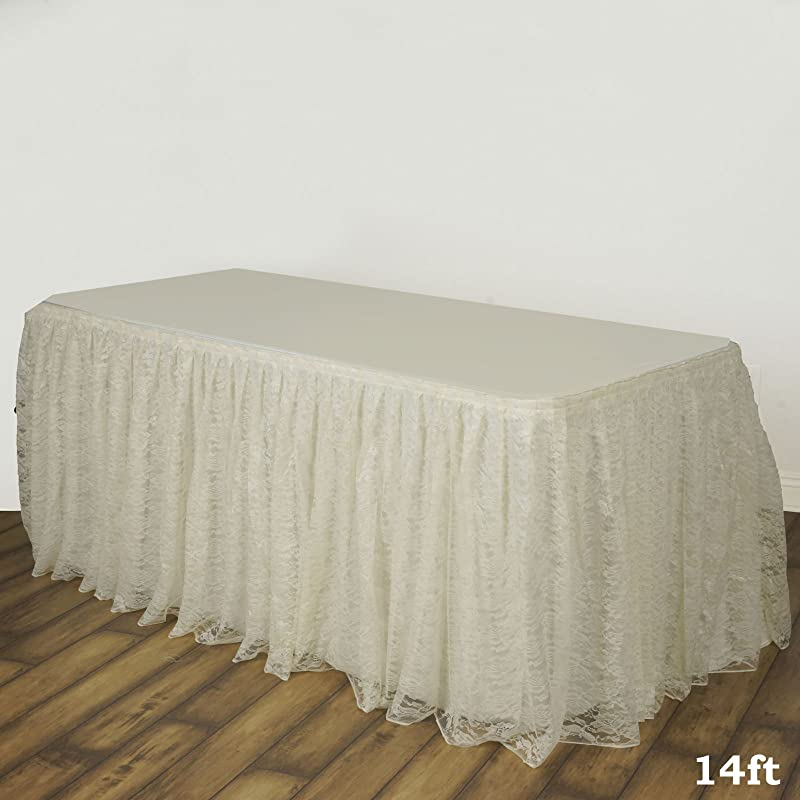 BalsaCircle 14 Feet X 29 Inch Ivory Premium Lace Banquet Table Skirt Linens Wedding Party Events Decorations Kitchen Dining