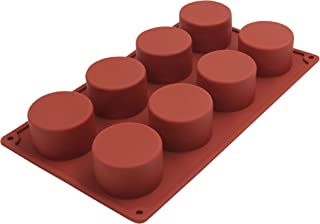MORLIFE 8pcs Cylindrical Shaped Non-Stick Silicone Chocolate Mold, Cake Mold, Jelly, Ice Tray, Baking Mold Brown 29.3 cm x...