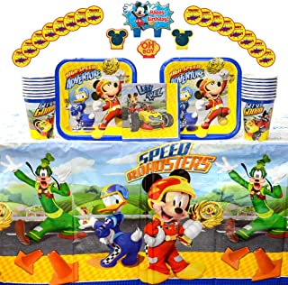 Mickey Roadster Party Supplies Pack for 16 Guests: Stickers, Candles, Dessert Plates, Beverage Napkins, Table Cover, and Cups