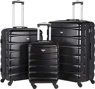 Flight Knight Lightweight 4 Wheel ABS Hard Case Suitcases Cabin & Hold Luggage Options - Cabin + Medium + Large Black FK01_BLAC_3SET
