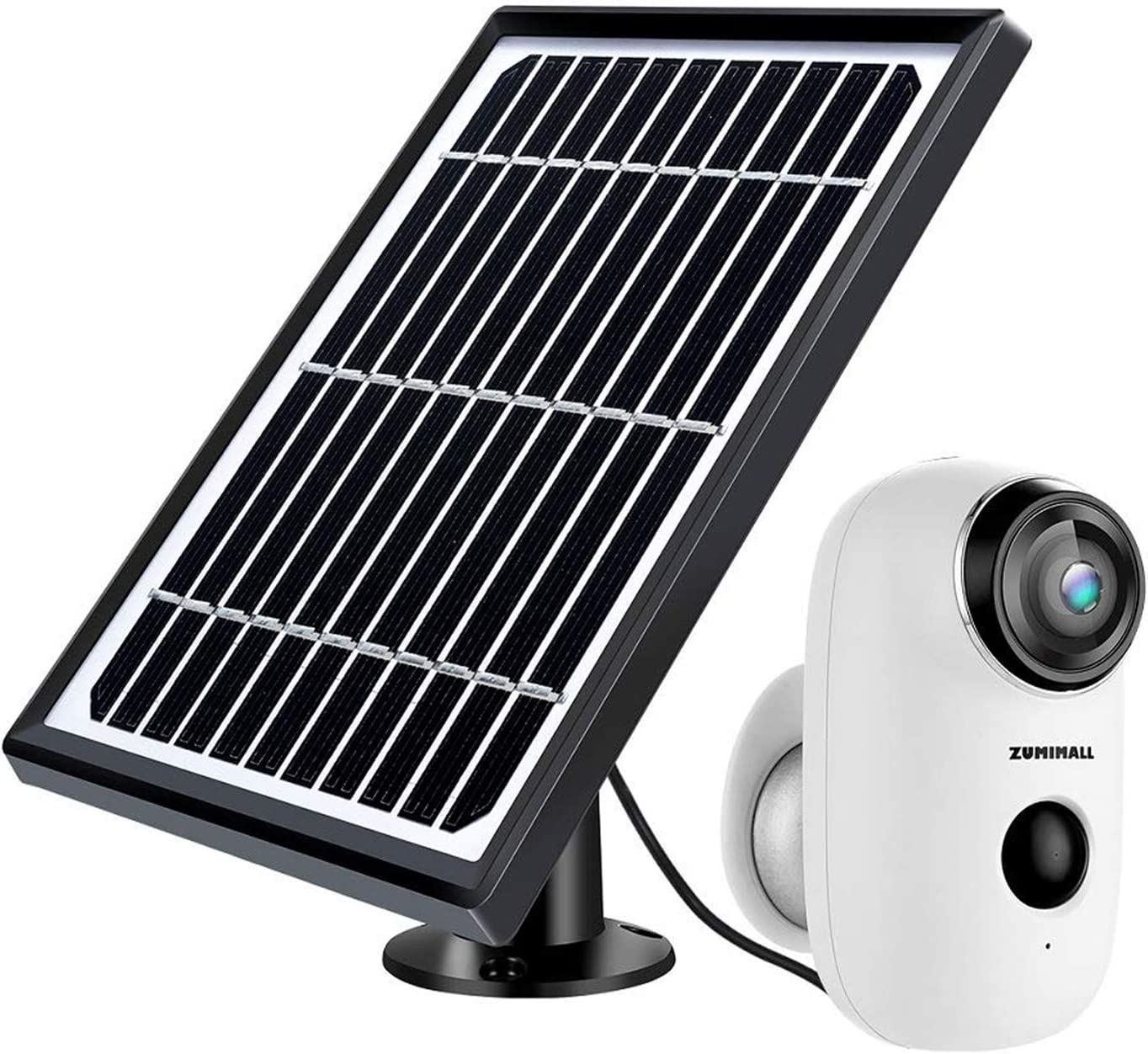 Security Camera Outdoor Wireless WiFi, ZUMIMALL Solar Powered Surveillance Camera with Rechargeable Battery, 1080P Night Vision, Motion Detection, 2-Way Audio, IP65 Waterproof, Cloud Storage/SD Slot