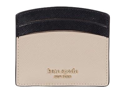Kate Spade New York Spencer Card Holder (Warm Beige/Black) Wallet Handbags