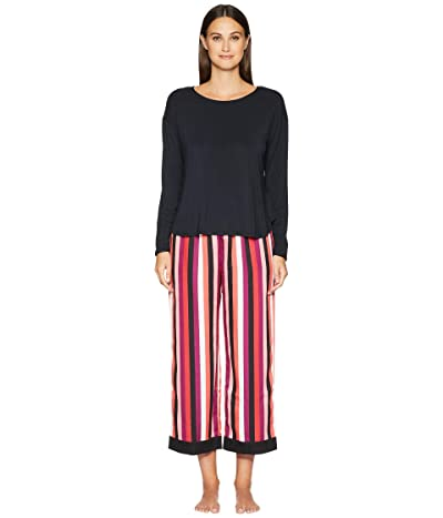 Kate Spade New York Cropped Long Sleeve Pajama Set (Multi Stripe) Women