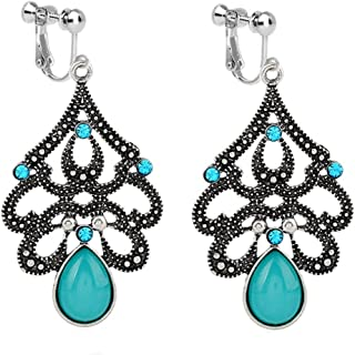 Usresu Vintage Clip on Earrings Waterdrop Dangle Tassels Created Cat Eye Stone Blue Lovers Proms