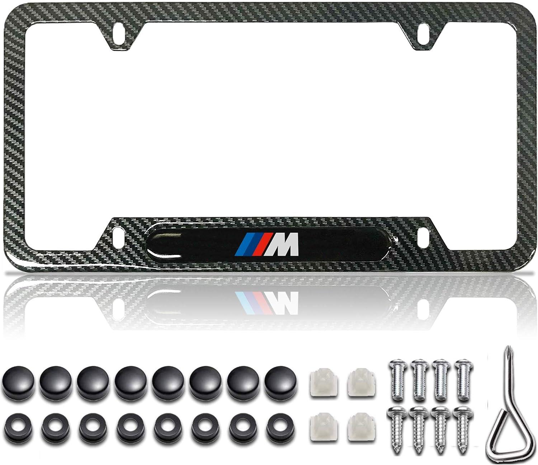Gloss Black Carbon Fiber Patterned Matte Black Metal License Plate Frame for BMW M License Plate Holder for BMW M 2 Car Plate Frames Accessories for BMW M License Plate Cover for BMW M