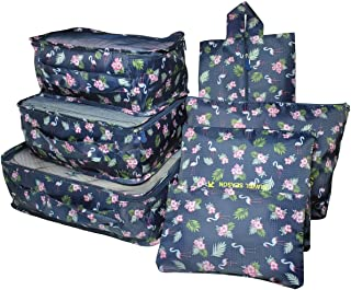 7Pcs Waterproof Travel Storage Bags Clothes Packing Cube Luggage Organizer Pouch(7Navy bird)