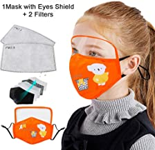 Children's Face Macks Washable Reusable Outdoor Face Bandanas Cute Pattern Dust Mouth Shield for Kids Boys Girls 儿童棉质防尘防风户外防护护眼面罩带2个滤片 橙色 橙色