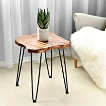 WELLAND Side Table for Living Room, End Table with Hairpin Legs for Bedroom, Farmhouse Decor, Heavy-Duty Pine Wood Top in ...