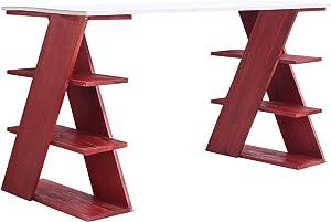 Mobili Rebecca® Scrivania Porta Computer Scrittoio Legno Bianco Rosso Moderno Soggiorno Casa Ufficio (cod. RE4813)