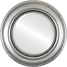 Round Wall Mirror for Home Decor, Bedroom, Living Room, Bathroom | Decorative Framed Beveled Mirror | Heritage Style - Silver Leaf with Black Antique - 29x29 Inch Outside Dimensions
