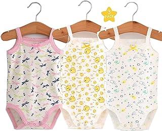 Unisex-Baby Sleeveless Onsies Tank Top Cotton Baby Bodysuit 4-Pack of Cardigan Onsies for Infants