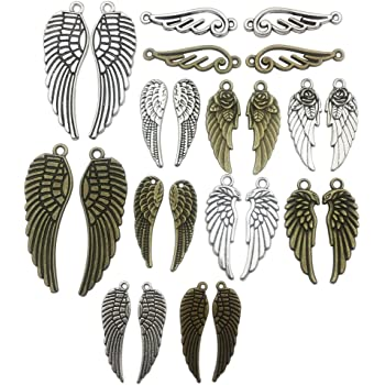 OBSEDE Titanium Steel Angel Wing Charms Craft Supplies Mixed Pendants for Crafting Jewelry Findings Making Accessory for DIY Necklace Bracelet 15Pcs