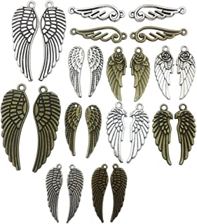 54 PCS Pair Wing Charms Collection - Mixed Antique Silver Bronze Twain Couple Angel Eagle Wing Metal Alloy Pendants for Jewelry Making DIY Findings (HM83)