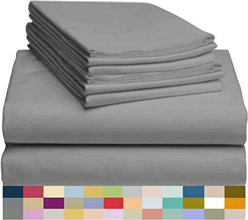 "LuxClub 6 PC Sheet Set Bamboo Sheets Deep Pockets 18"" Eco Friendly Wrinkle Free Sheets Hypoallergenic Anti-Bacteria M..."