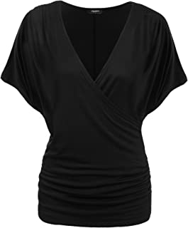 Damen V-Ausschnitt T-Shirt Kurzarm Batwing Fledermaus Sommer Shirt Tunika Bluse