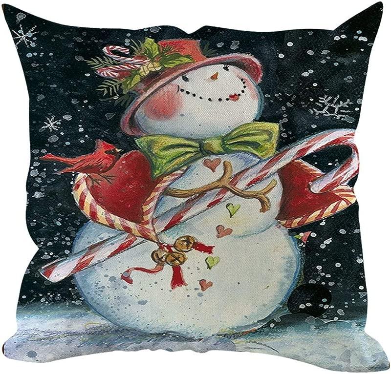 Lataw Christmas Pillowcases Snowman Theme Pillow Cover Sofa Cushion Cover Holiday Decorative Home Decoration