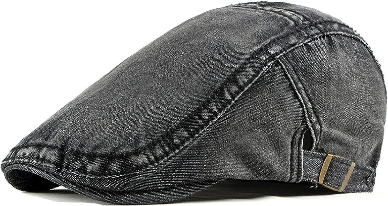 Simple Washed Denim Berets Hat Men Spring Summer Peaked Flat Cap Artist Duckbill Hat Casual Herringbone Newsboy Cap