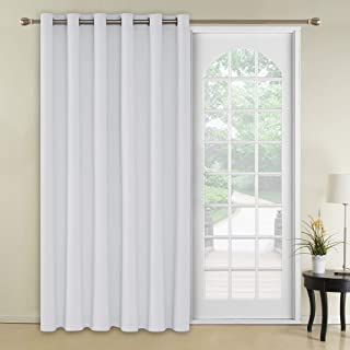 Deconovo Blackout Curtains Thermal Insulated Wide Width Curtains Grommet Room Darkening Curtains for Bedroom 80 x 84 Inch Greyish White 1 Panel