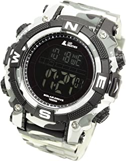 Lad Weather Solar Digital Watch Stopwatch Lap Time Alarm Timer Camouflage Combat Military