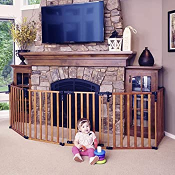 """Toddleroo by North States 3 in 1 Wood Superyard: 151"""" Long Extra Wide Baby gate, Barrier or Play Yard. Hardware or freestanding. 6 Panels, 10 sq.ft. Enclosure (30"""" Tall, Stained Wood)"""