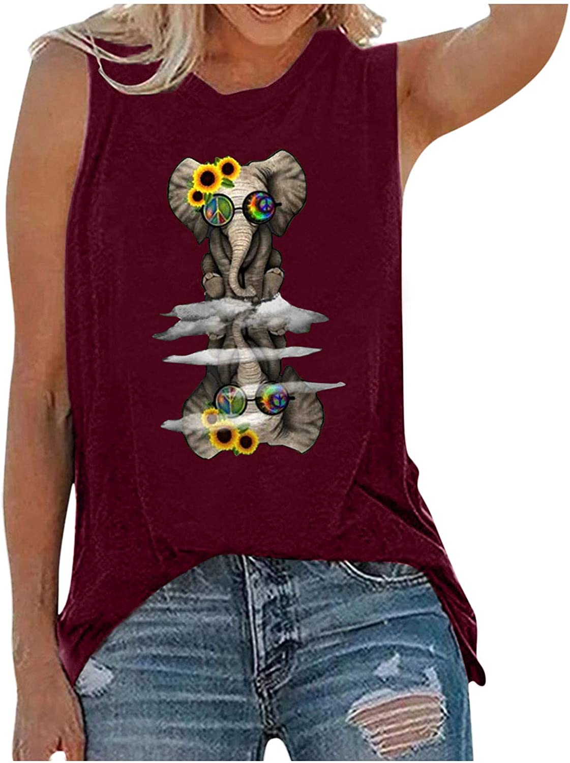 Tank Tops for Women,Womens Tops for Independence Day Women Letters Printing Sleeveless O-Neck Vest Blouse Tops