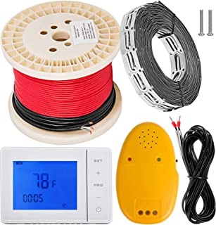 Happybuy 20 sqft Warming Cable Set 110V Electric Radiant Floor Heat Heating Cable Kit Warming System 80ft long Heating Cable with Thermostat/Wire/Card Strip/Temperature Control Alarm