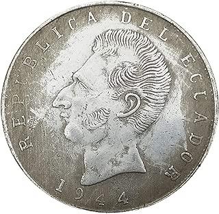 Xinmeitezhubao Silver Coin Silver Dollar Collection, Ecuador 1944 Vintage White Copper Silver Coin, Retro Crafts