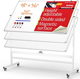 """MARBS 48""""x36"""" Rolling Whiteboard with Stand & Flipchart, Height Adjust Mobile Whiteboard Magnetic, 360° White Board with S..."""