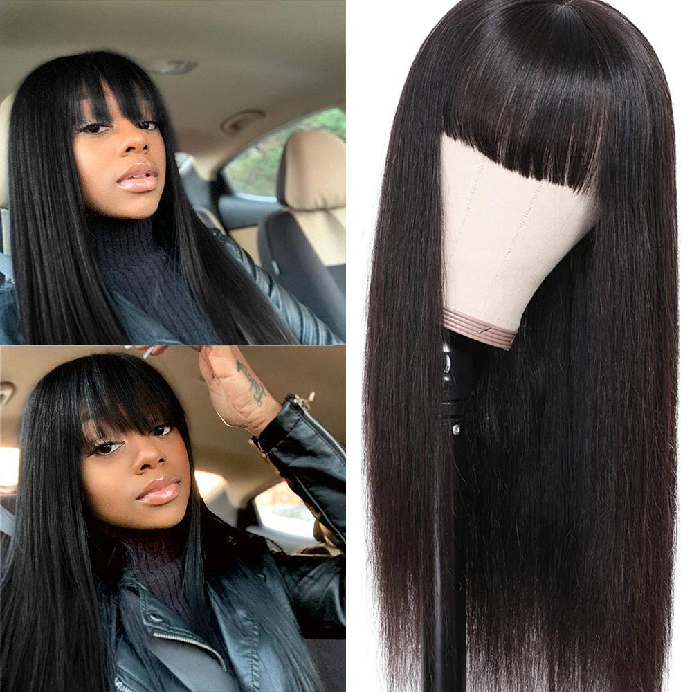 Peiyulex long Straight Human Hair Wigs 24 Ranking TOP3 Max 83% OFF Brazil with Bangs Inch