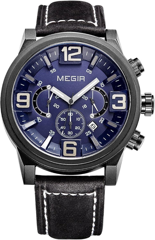 MEGIR service Quartz Leather Band Bargain sale Chronograph Waterproof Luminous Luxury
