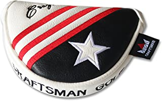 Craftsman Golf Black White Red Stripes USA Star Small Half Mid Mallet Putter Cover Headcover for Odyssey Taylormade